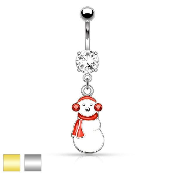 """Gemmed Ear Muffs Snowman Dangle Belly Button Navel Ring - 14GA - 3/8"""" Long"""
