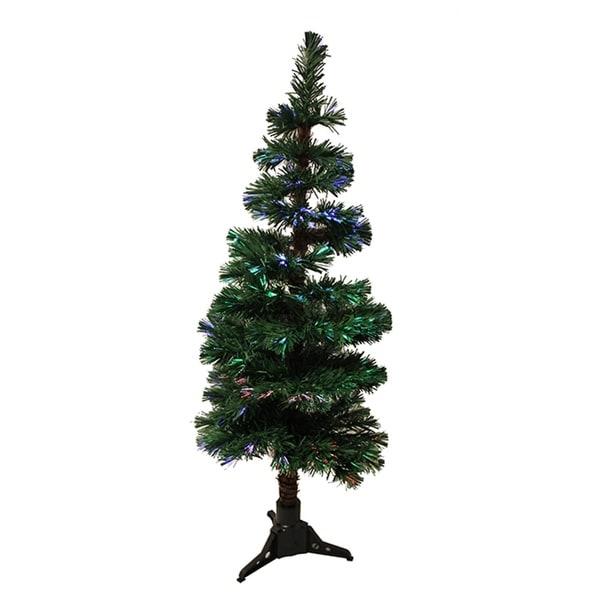 4' Pre-Lit Fiber Optic Artificial Spiral Pine Christmas Tree - Multi Lights