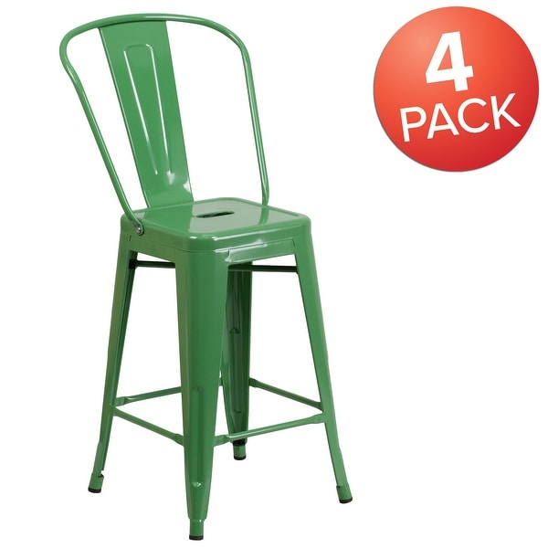 """4 Pack 24"""" High Metal Indoor-Outdoor Counter Height Stool with Back. Opens flyout."""
