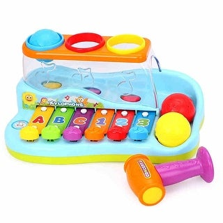 Huile Musical Toy Rainbow Xylophone Piano Pounding Bench with Balls and Hammer - Multi-color