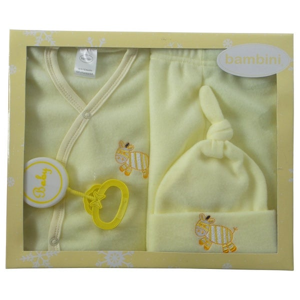 Bambini 4 Piece Fleece Set (Yellow, Newborn)