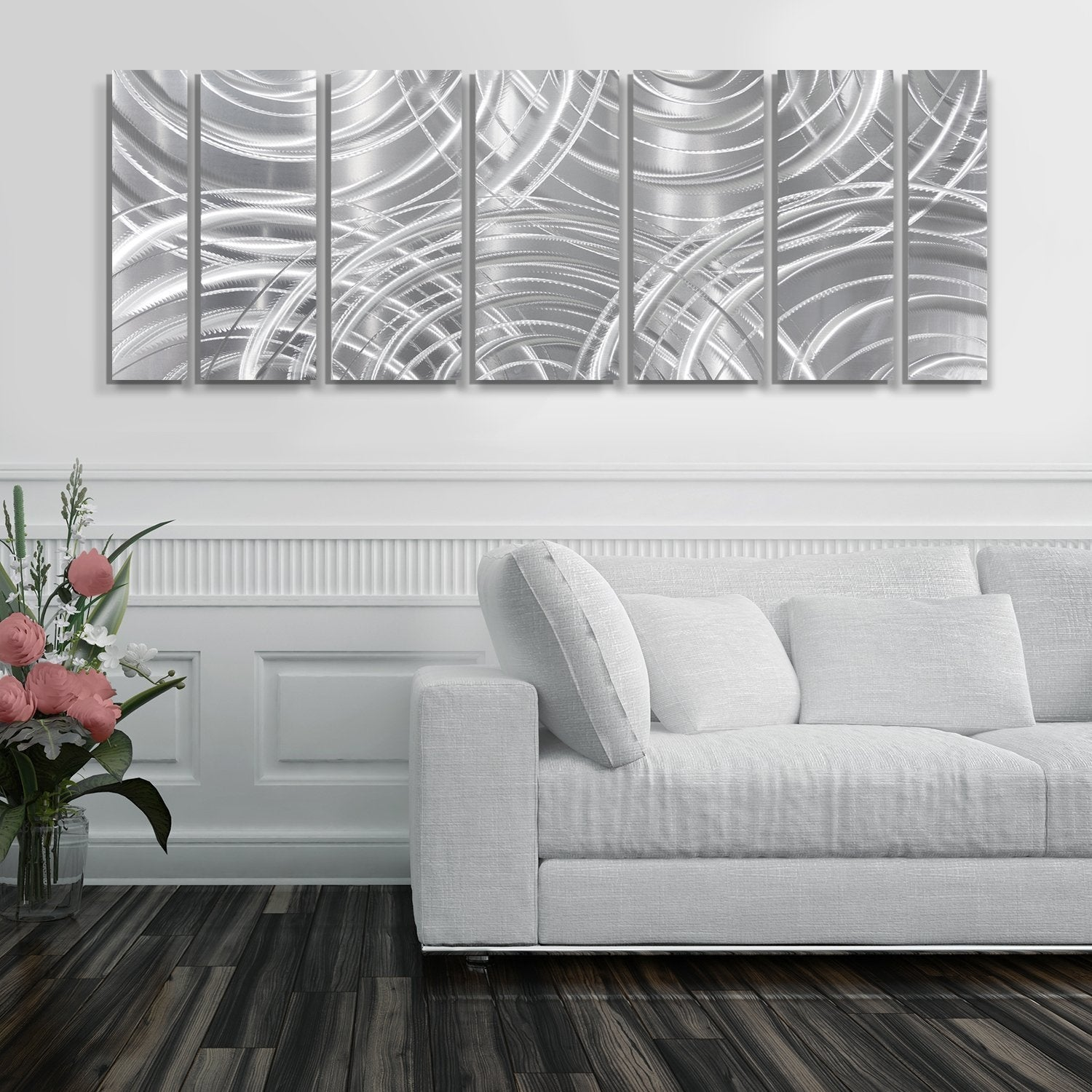 Image of: Shop Black Friday Deals On Statements2000 Large Metal Wall Art Modern Abstract Silver Decor By Jon Allen Moving Forward Overstock 27976560