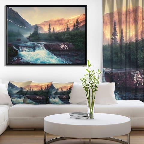 Designart 'Glacier National Park Montana' Landscape Framed Canvas Art Print