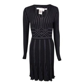 Studio M Women's V-Neck Ribbed Sweater Dress