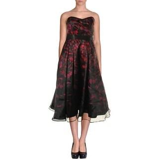 Aidan Mattox Womens Printed Strapless Cocktail Dress