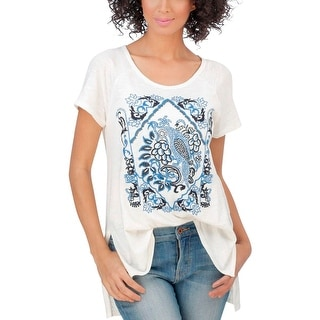Lucky Brand Womens Casual Top Slub Embroidered