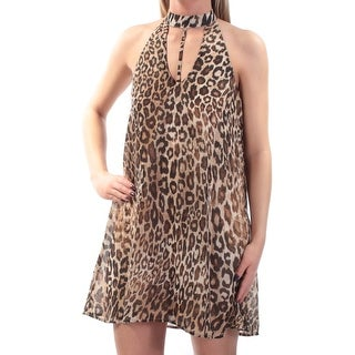 SPEECHLESS $54 Womens New 1084 Brown Animal Print Shift Dress XS Juniors B+B
