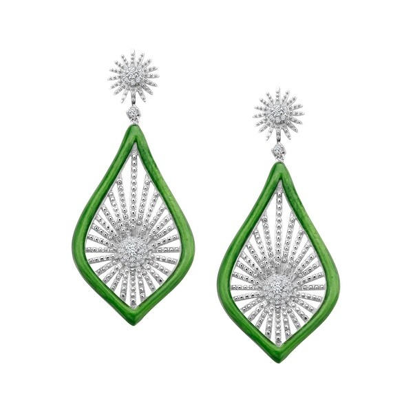 Cristina Sabatini Morning Star Earrings with Cubic Zirconia in Rhodium-Plated Sterling Silver - White