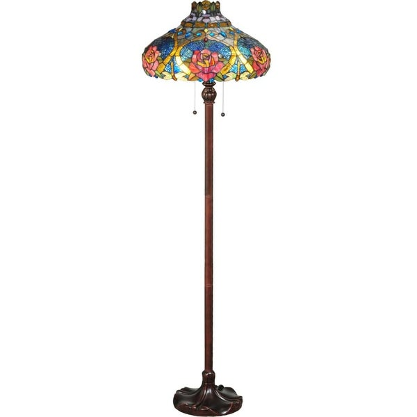 """Meyda Tiffany 138109 Dragonfly Rose 2-Light 60"""" Tall Hand-Crafted Floor Lamp with Stained Glass - Mahogany Bronze - N/A"""