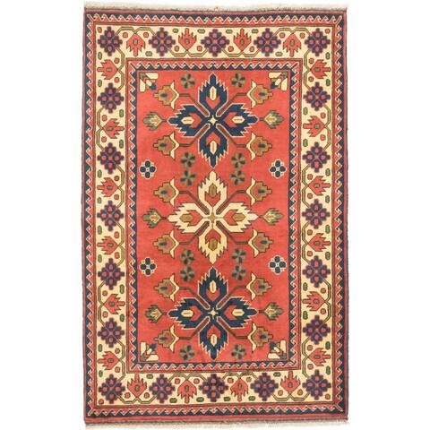 ECARPETGALLERY Hand-knotted Finest Kargahi Burgundy Wool Rug - 3'3 x 5'2