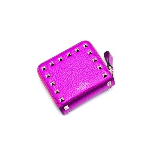Valentino Women's Hot Pink Metallic Rockstud Compact Wallet