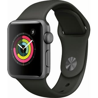 Apple Watch Series 3 (GPS), 38mm Space Gray Aluminum Case with Gray Sport Band - Space Gray Aluminum|https://ak1.ostkcdn.com/images/products/is/images/direct/48c968864bb4f95eadd31fde45ee8d78783cadbc/Apple-Watch-Series-3-%28GPS%29%2C-38mm-Space-Gray-Aluminum-Case-with-Gray-Sport-Band---Space-Gray-Aluminum.jpg?impolicy=medium