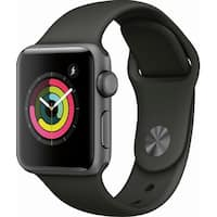 Apple Watch Series 3 (GPS), 38mm Space Gray Aluminum Case with Gray Sport Band - Space Gray Aluminum