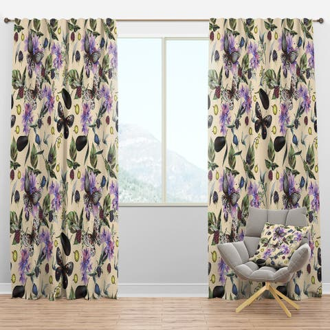 Designart 'Butterflies and Flowers' Farmhouse Blackout Curtain Panel