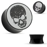 3-D Holographic Skull Black Acrylic Saddle Plug (Sold Individually)