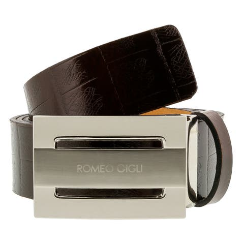 Romeo Gigli C955/35S T.MORO Dark Brown Leather Adjustable Mens Belt