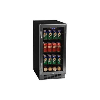 EdgeStar CBR901SG 15 Inch Wide 80 Can Built-In Beverage Cooler with Blue LED Lighting