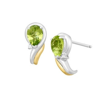 1 1/2 ct Natural Peridot Earrings with Diamonds in Sterling Silver & 14K Gold - Green