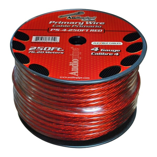 Audiopipe Flexible Power Cable Red 250 ft.