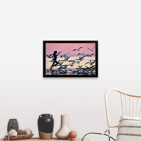 """""""Girl running on beach"""" Black Framed Print"""