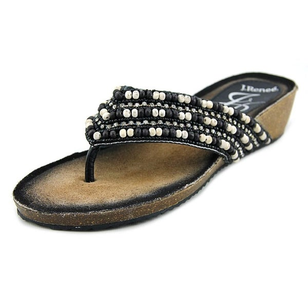 J. Renee Opuna Open Toe Leather Thong Sandal