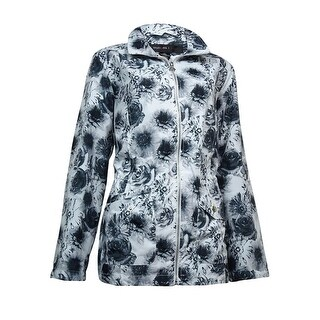 Style & Co. Women's Floral-Print Water Resistant Anorak Jacket - BLACK/WHITE - M