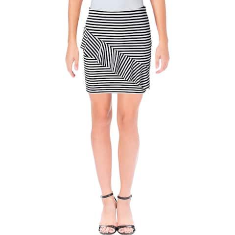 Aqua Womens Mini Skirt Striped Asymmetric