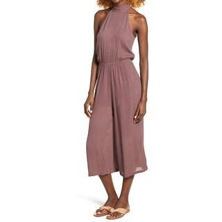 O'Neill NEW Purple Womens Size XL Textured Haltered Crop Jumpsuit