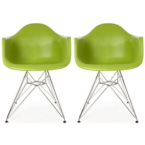 Set of 2 Plastic Eiffel Molded Shell Retro Dining Chairs Accent For Living Room Kitchen Chrome Desk Designer Office