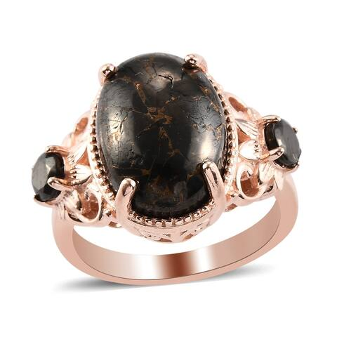 950 Platinum Rose Gold Silver Shungite Statement Ring Size 8 Ct 4.8