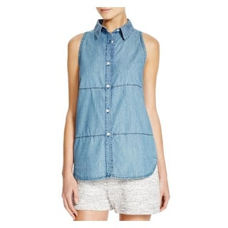 Viktoria & Woods Womens Button-Down Top Chambray Casual