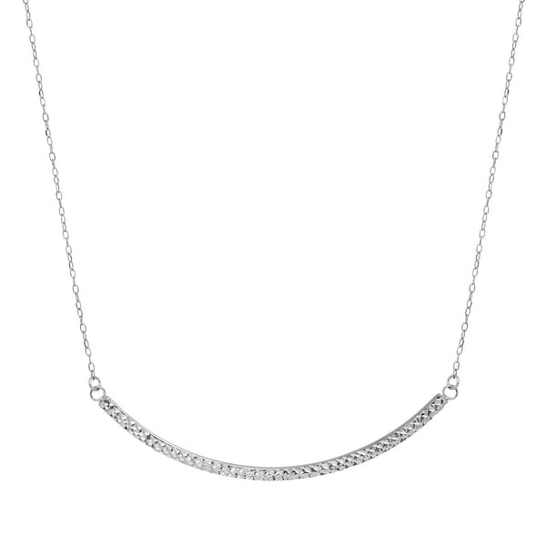 Just Gold Etched Curved Bar Necklace in 14K White Gold