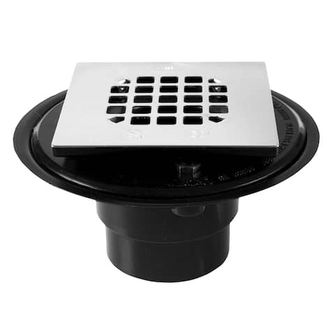 "Oatey 42238 Square Stainless Steel Strainer ABS Shower Drain, 2""x3"", Black"