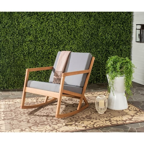 Safavieh Outdoor Living Vernon Grey/ Tan Eucalyptus Rocking Chair