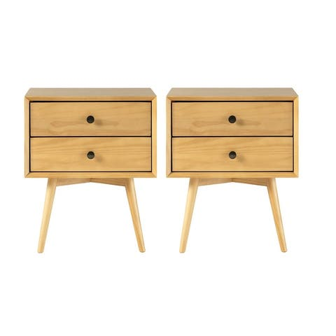 Carson Carrington 20-inch Mid-century 2-drawer Nightstands, Set of 2