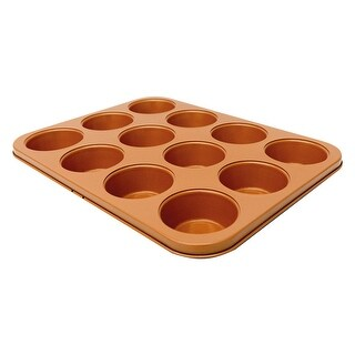 Non-Stick Muffin Pan by Gotham Steel - 12 Cup Cupcake Baker - 10 in. x 1 in. x 14 in.