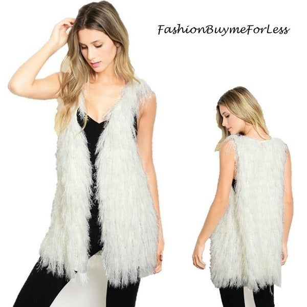5317d937668ac Shop BOHO Ivory Faux Lamb Fur Shearling Sherpa Shaggy Fringed Vest Jacket  Coat S M L - On Sale - Free Shipping Today - Overstock.com - 25857681