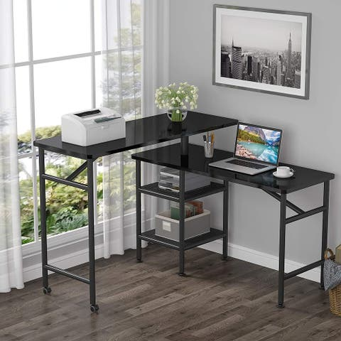 L-Shaped Computer Desk, 47 Inch Rotating Desk with Shelves