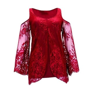 Cowgirl Tuff Western Shirt Womens Long Sleeve Lace Scoop Red 100121