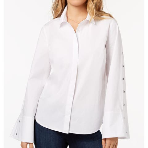 Kensie White Womens Size Small S Snap-Sleeve Button Down Shirt