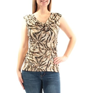 BCX $39 Womens New 3028 Beige Black Animal Print Cap Sleeve Top M Juniors B+B