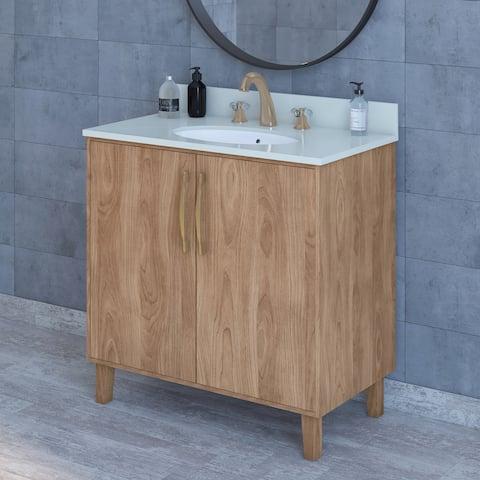 "Cameron 36"" Modern Vanity with Saltillo Wood Finish"