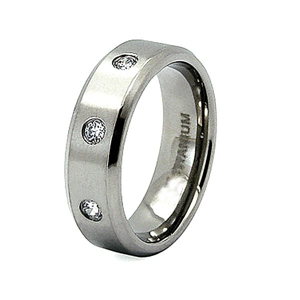 Titanium Ring with 3 Bezel-set Cubic Zirconia (7mm) (Sizes 8-12)