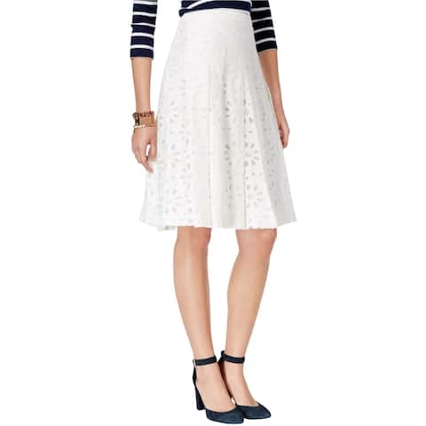 Tommy Hilfiger Womens Eyelet A-line Skirt, White, 4