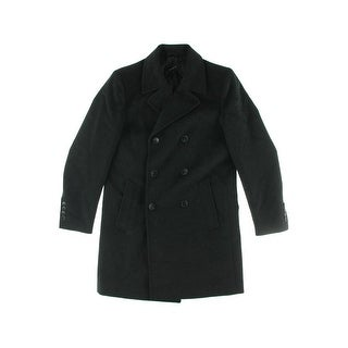 Vince Camuto Mens Wool Leather Trim Pea Coat - M