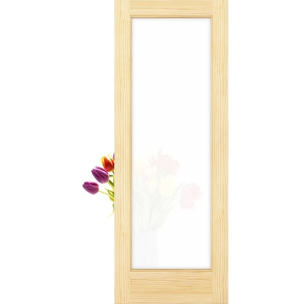 "Frameport FPG-PD-1L-6-2/3X2-2/3 Frosted Privacy Glass 32"" by 80"" 1 Lite Interior Slab Passage Door - Unfinished"