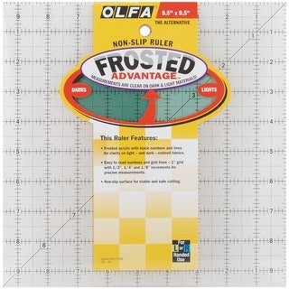 "OLFA Frosted Advantage Non-Slip Ruler ""The Alternative""-9-1/2""X9-1/2"""