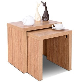 Link to Costway Set of 2 Nesting Coffee End Table Side Table Wood Color Living - See Details Similar Items in Living Room Furniture