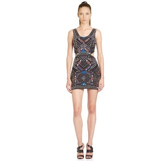 Parker Covina Beaded Side Cutout Mini Cocktail Dress - xs