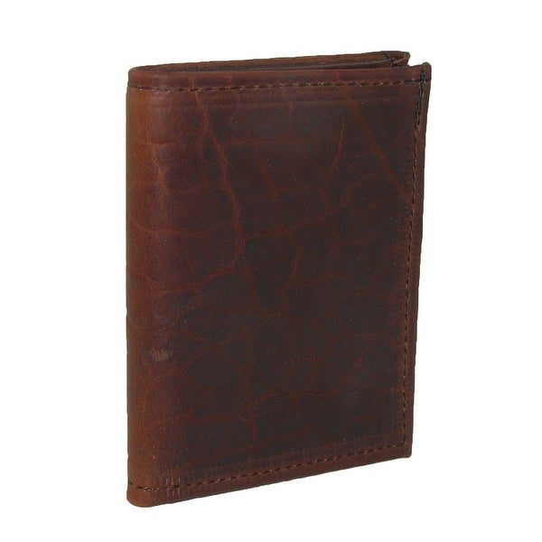 Boston Leather Men's Textured Bison Leather Book Style Card Case Wallet with ID - One size